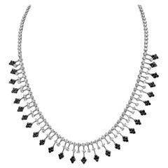 Diamond Fringe Necklace in 18 Karat White Gold with 5.30 Carat White Diamonds