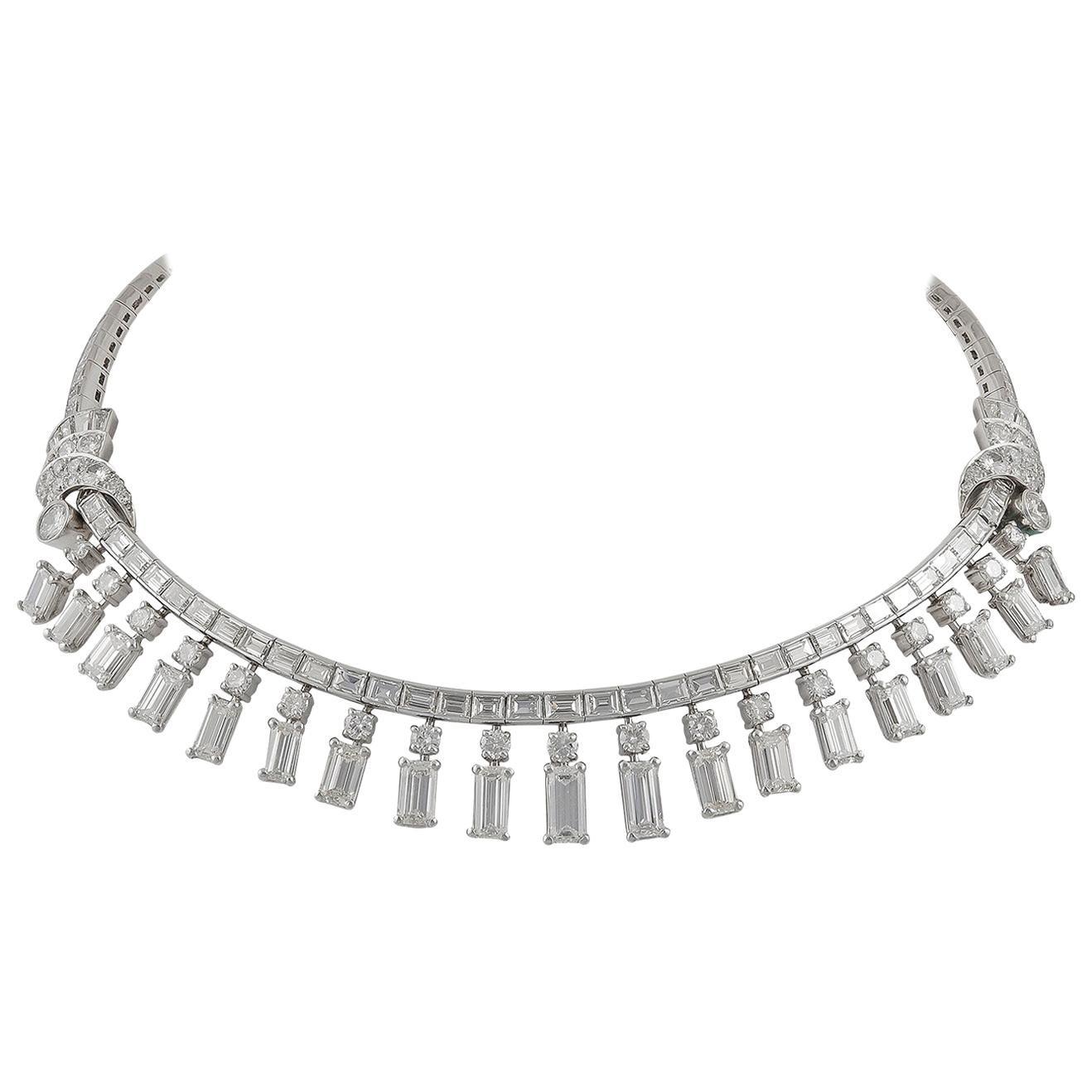 Diamond Platinum Fringe Rivière Necklace