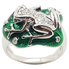 Diamond Frog Ring Set in 18 Karat White Gold Settings