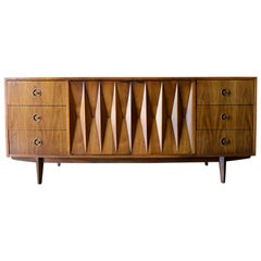 Diamond Front Sculpted Walnut Credenza by Albert Parvin, circa 1960
