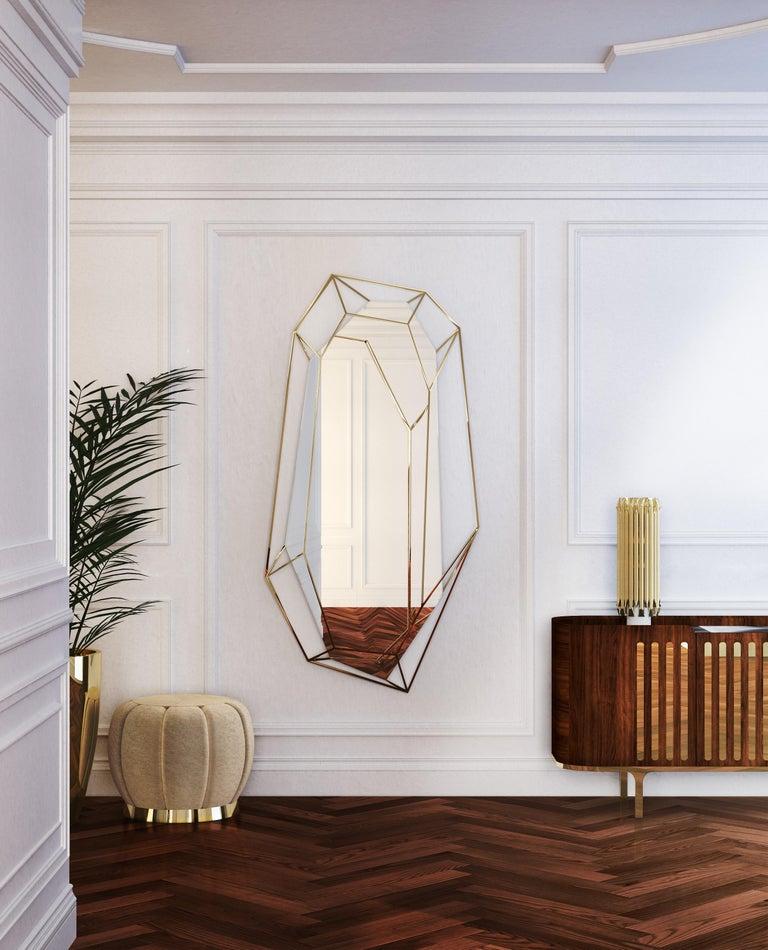 Mid-Century Modern Diamond Full-Length Mirror in Brass For Sale