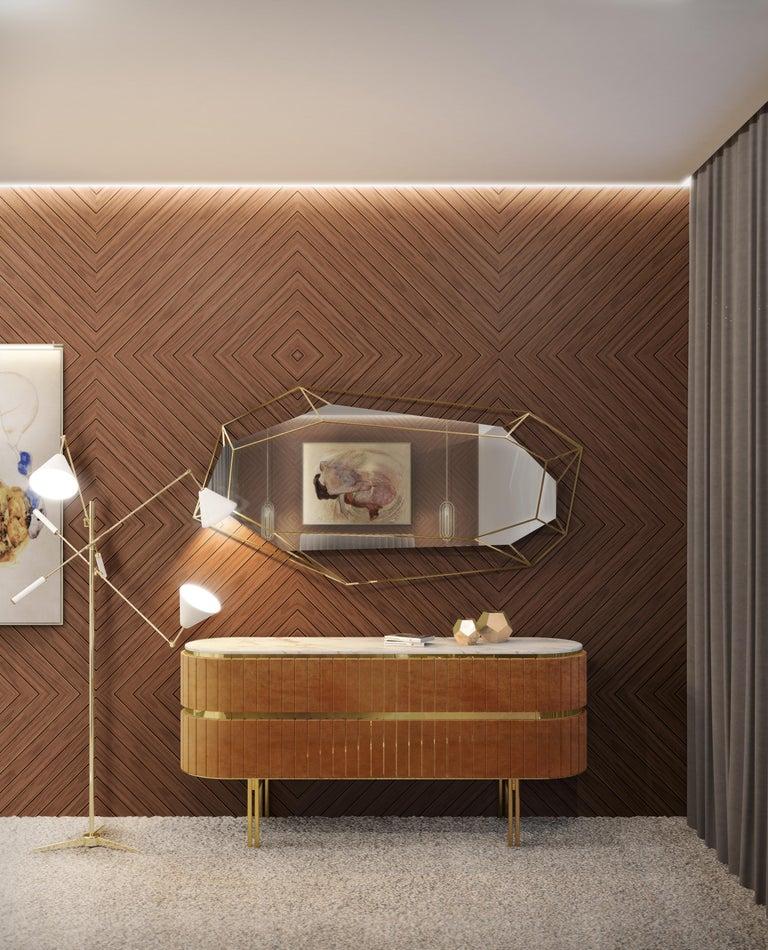 Portuguese Diamond Full-Length Mirror in Brass For Sale