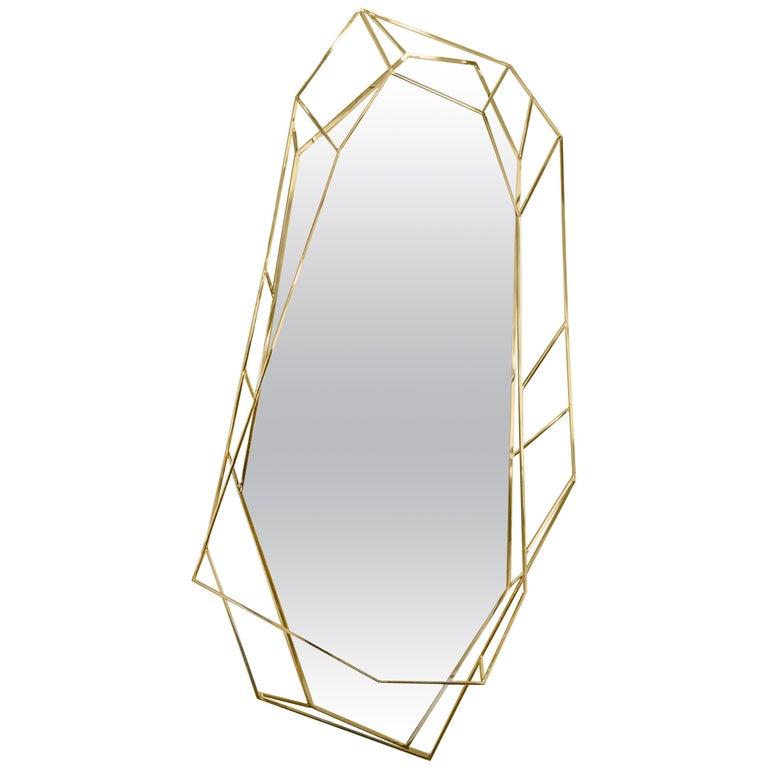 Diamond Full-Length Mirror in Brass For Sale