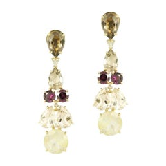 Diamond Garnet Fancy Quartz Yellow Gold 18 Karat Statement Dangle Earrings