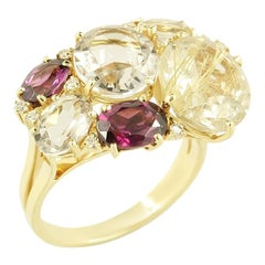 Diamond Garnet Fancy Quartz Yellow Gold 18 Karat Three-Stone Statement Ring