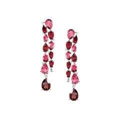 Diamond Garnet Rhodolit Topaz Rose Gold Dangle Earrings
