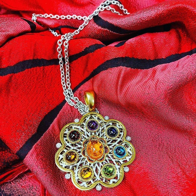 Diamond Garnet Ruby Peridot Topaz Citrine Iolite Amethyst Gold Brooch Pendant For Sale 3