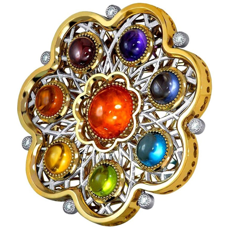 Diamond Garnet Ruby Peridot Topaz Citrine Iolite Amethyst Gold Brooch Pendant For Sale