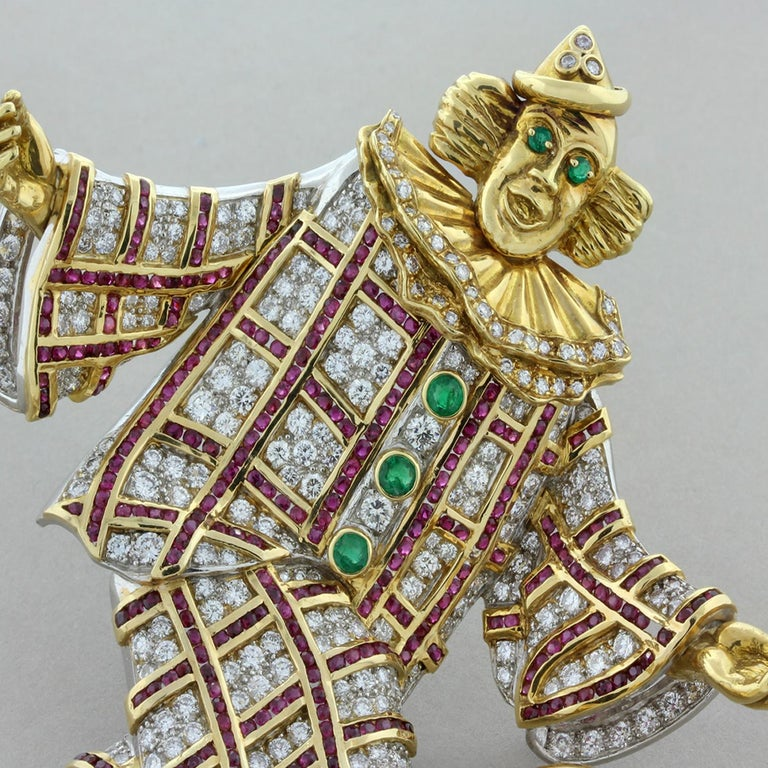 Diamond Gem Ruby Emerald Gold Platinum Clown Brooch For Sale 1