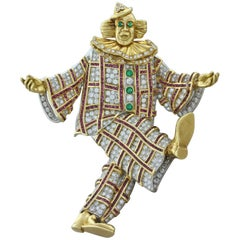 Diamond Gem Ruby Emerald Gold Platinum Clown Brooch