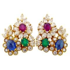 Diamond Gem-Stone Gold Ear Clips