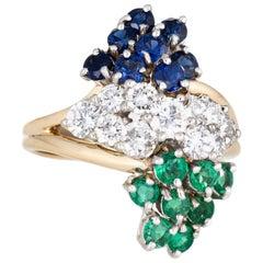 Diamond Gemstone Cluster Ring Vintage Emerald Sapphire 14 Karat Gold Jewelry