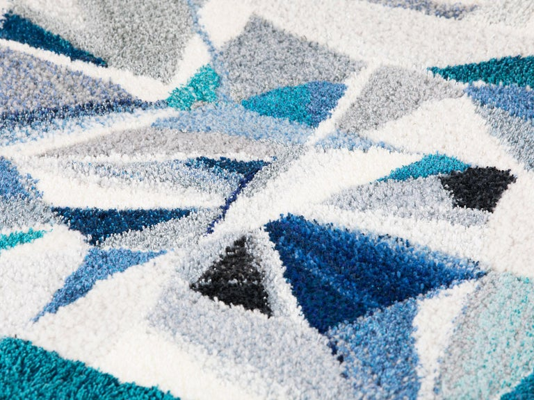 Large tufted silk, wool and linen rug / tapestry / wall hanging in an abstract gemstone pattern, designed and handmade by Swedish textile artist Camilla Lundblad Iliefski. Featuring an irregular border and a 70-inch diameter with a two-inch pile,