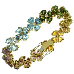 Diamond Gemstone Yellow Gold Flower Bracelet