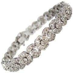 Diamond Geometric Link Round and Hexagon Open Halo Bracelet 18 Karat White Gold