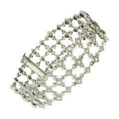 Diamond Geometric Square Link Chain White Gold Bracelet