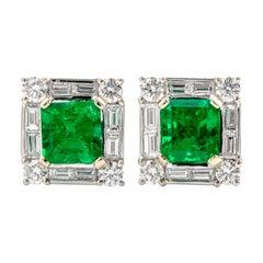 Diamond GIA Colombian Asscher-Cut Emerald Stud 18 Karat Gold Earrings