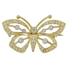 Diamond Gold and Platinum Butterfly Pin Brooch