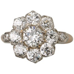 Diamond Gold and Platinum Cluster Ring