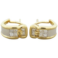 Diamond Gold and Platinum Huggie Earrings