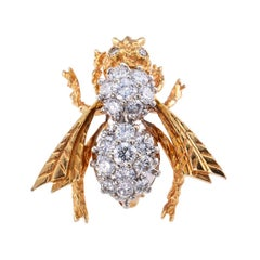 Diamond Gold Bee Brooch