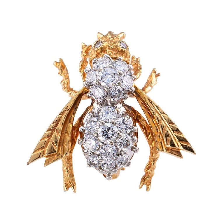 Diamond Gold Bee Brooch For Sale
