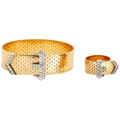 Diamond Gold Bracelet and Ring Set