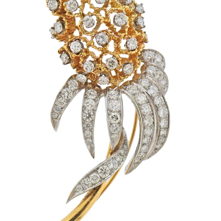 18k white and yellow gold brooch, with approx. 4 carats in diamonds. Brooch measures 82mm x 33mm. Marked 18k. Weight - 28.1 grams.