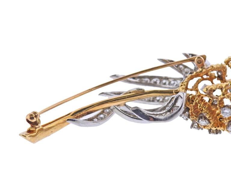 Women's Diamond Gold Brooch Pin For Sale