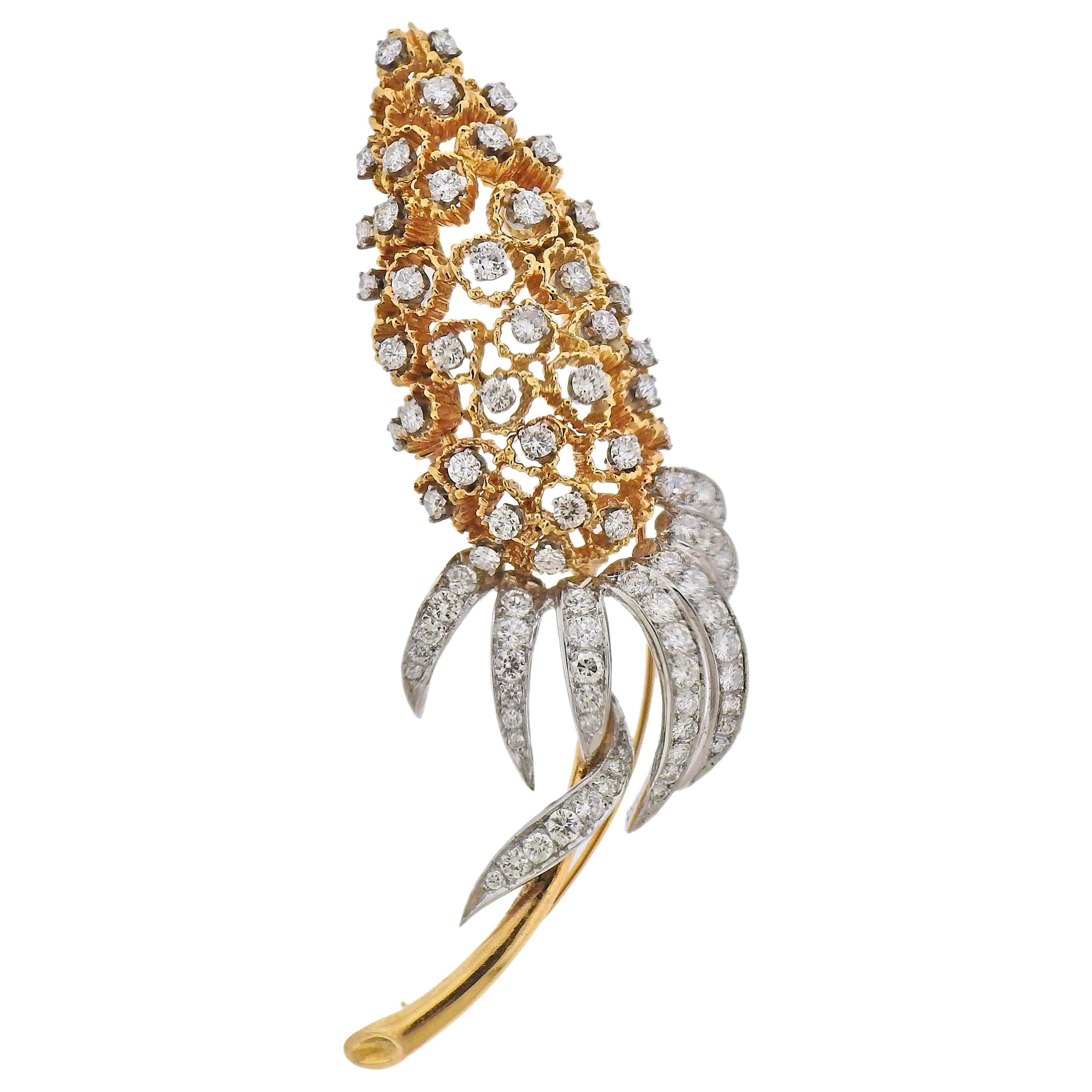 Diamond Gold Brooch Pin
