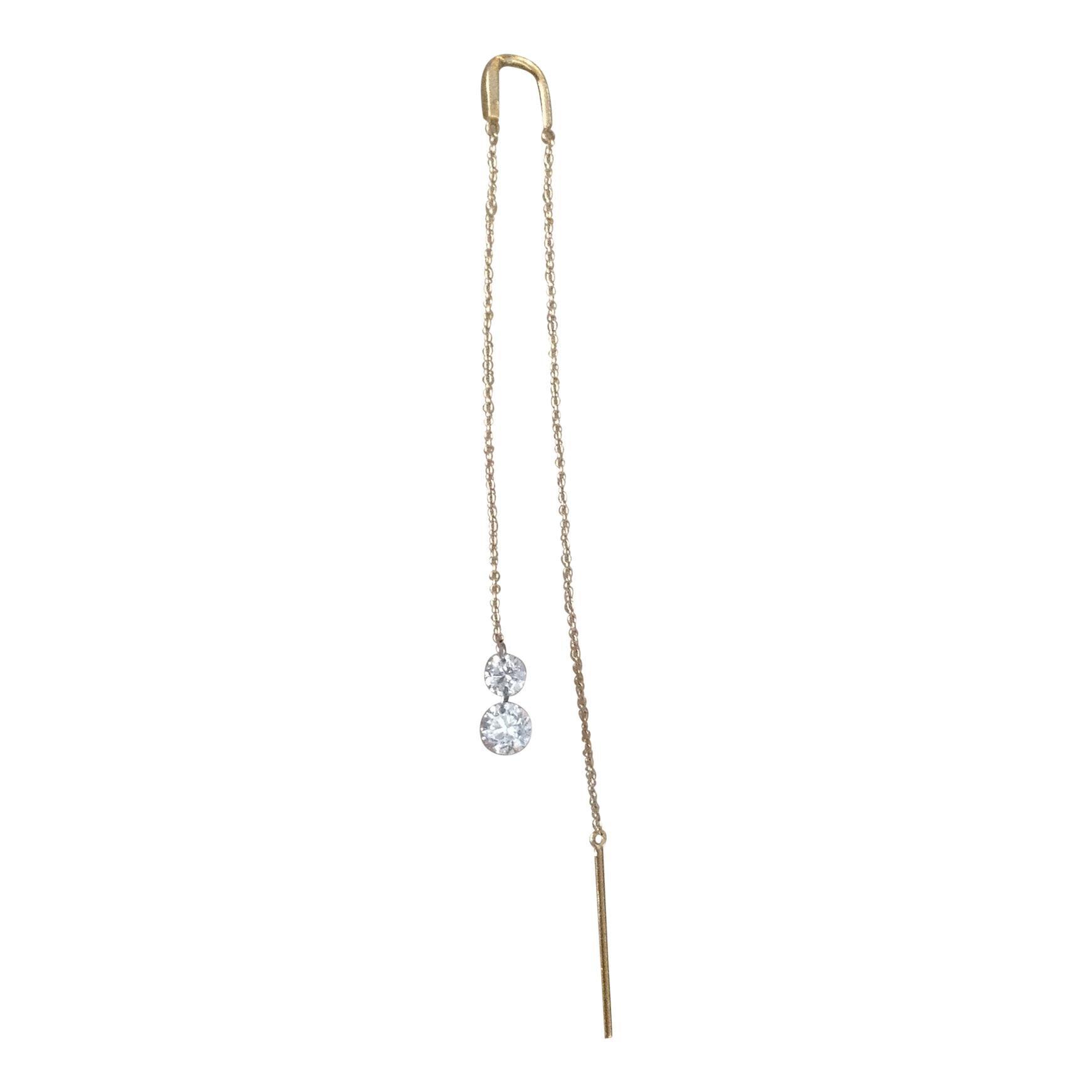 Brilliant Cut Diamond 18k Gold Chain Drop Dangle Earring