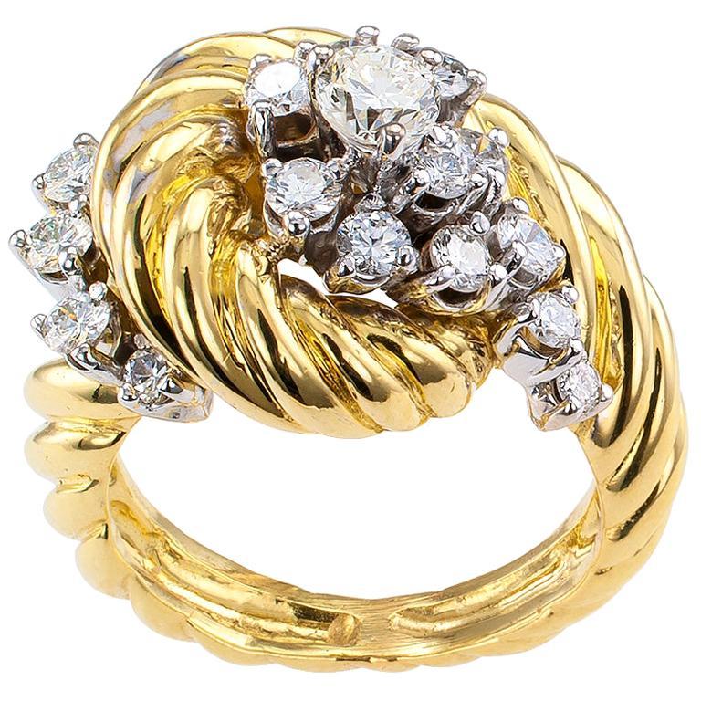 Diamond Yellow Gold Cluster Ring