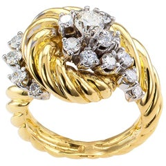 Diamond Yellow Gold Cluster Ring