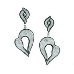 Diamond Gold Drop Swirl Earrings