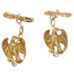 Diamond Gold Eagle Cufflinks