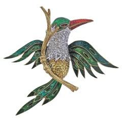 Diamond Gold Enamel Bird Brooch Pin