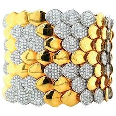 Diamond Gold Fish Scale Flexible Wide Bracelet