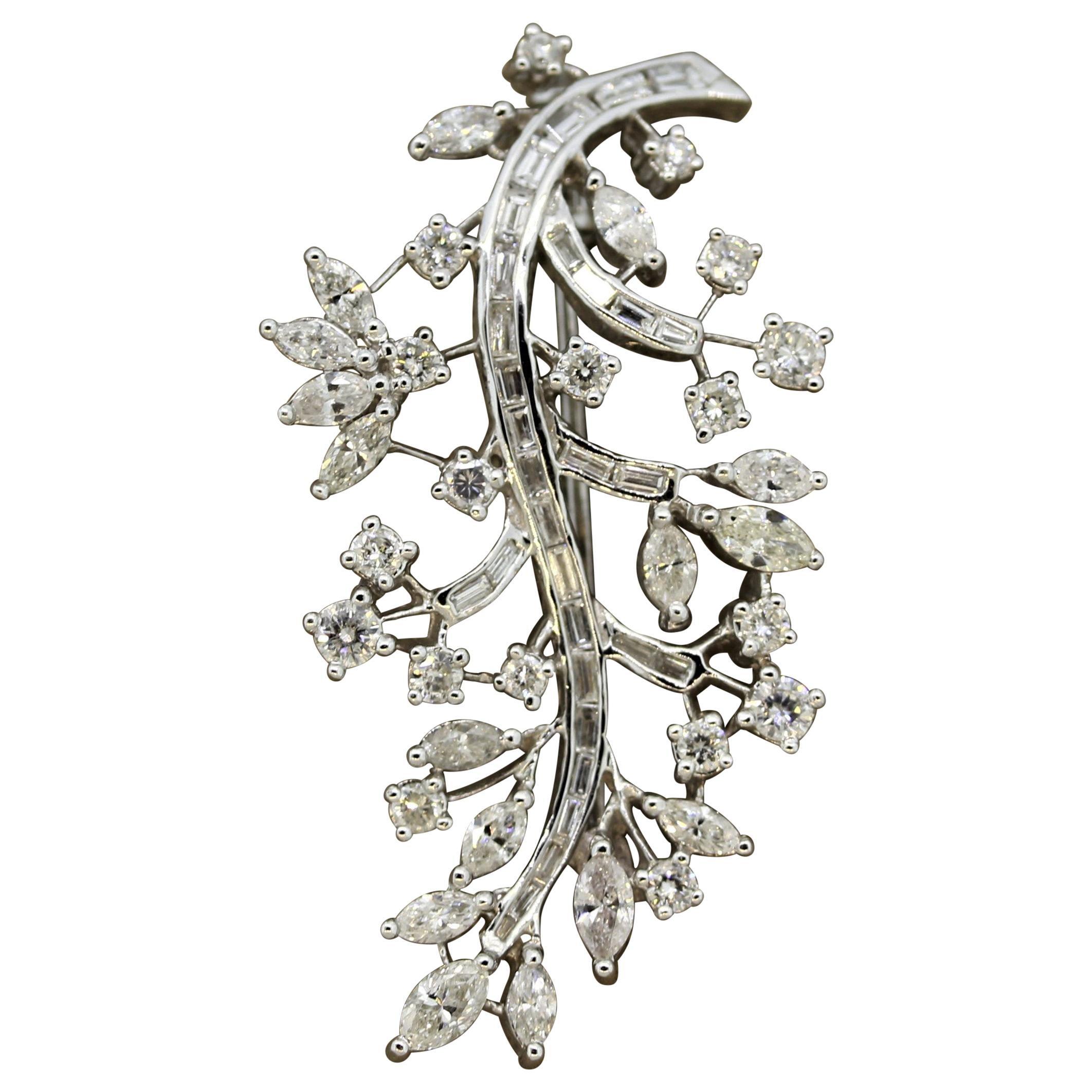 Diamond Gold Floral Spray Brooch