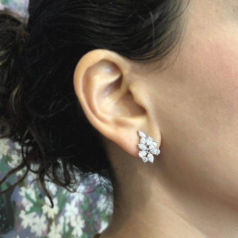 Women's Diamond Gold Flower Cluster Earrings For Sale