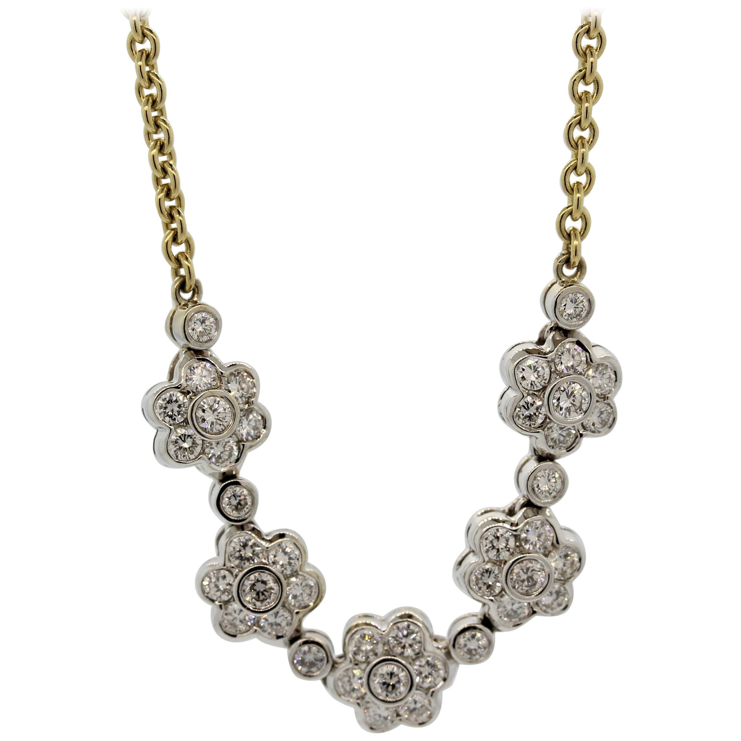 Diamond Gold Flower Necklace