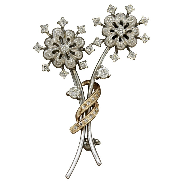 Diamond Gold Flower Pin Brooch For Sale