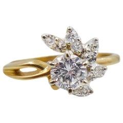 Diamond Gold Flower Ring