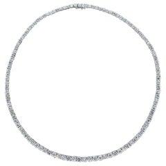 Diamond Gold Graduating Tennis Necklace