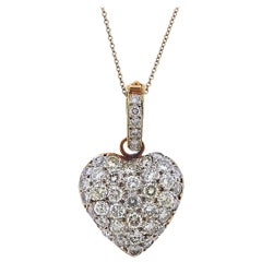 Diamond Gold Heart Pendant on Tiffany & Co. Necklace