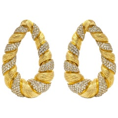 Diamond Gold Hoop Earrings