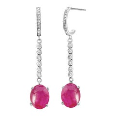 Diamond Gold Hoop Earrings with Burma Cabochon Ruby Weighing 9.17 Carat