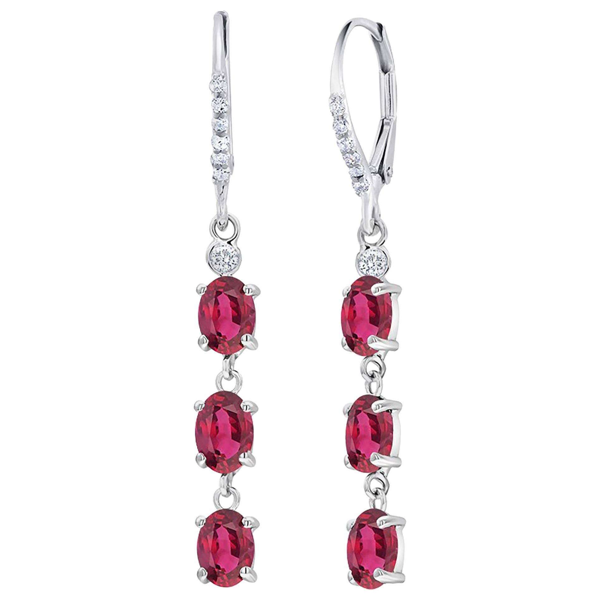 Diamond Gold Hoop Earrings with Six Burma Rubies Weighing 4.50 Carat