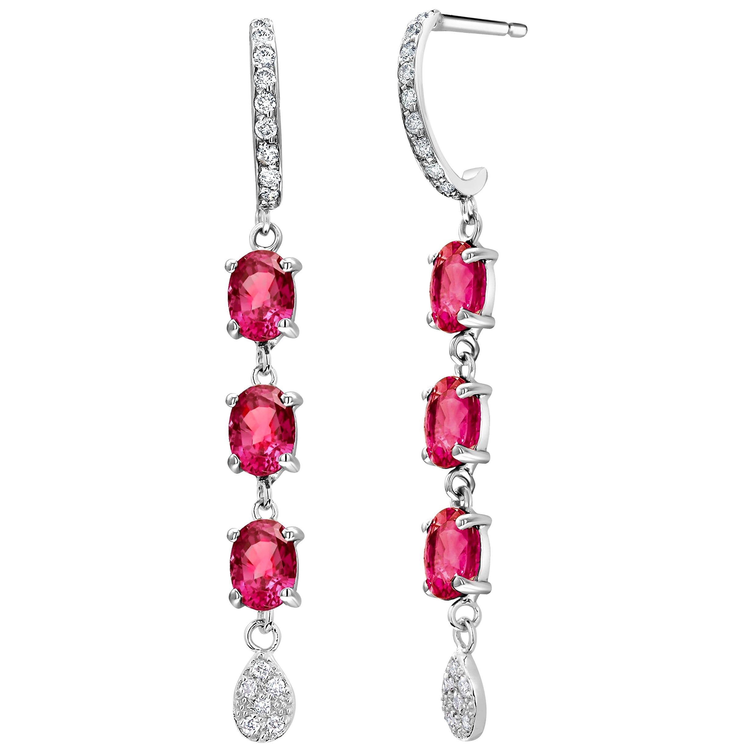 Diamond Gold Hoop Earrings with Six Burma Ruby Weighing 4.50 Carats
