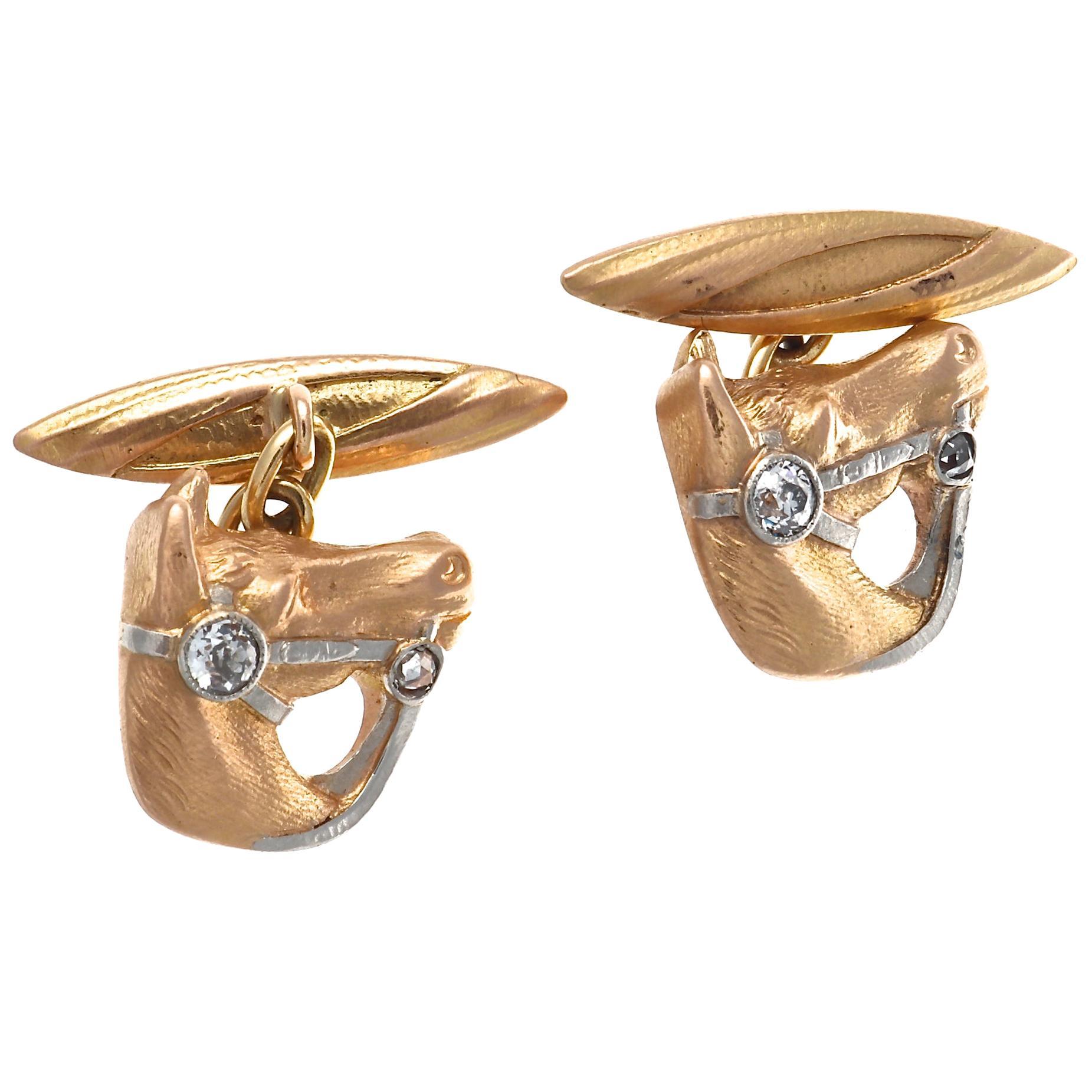 Diamond Gold Horse Head Cufflinks