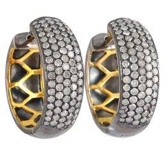 Diamond Gold Huggie Hoop Stud Earrings